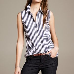 Banana Republic Fitted Striped Sleeveless Shirt
